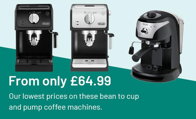 From only £64.99. Our lowest prices on these bean to cup and pump coffee machines.