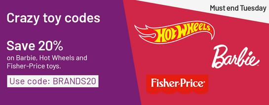 Save 20% on Barbie, Hot Wheels and Fisher-Price toys. Use code: BRANDS20.