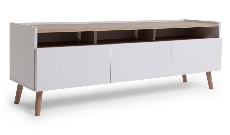 Argos Home Skandi 3 Drawer TV Unit - White Two Tone
