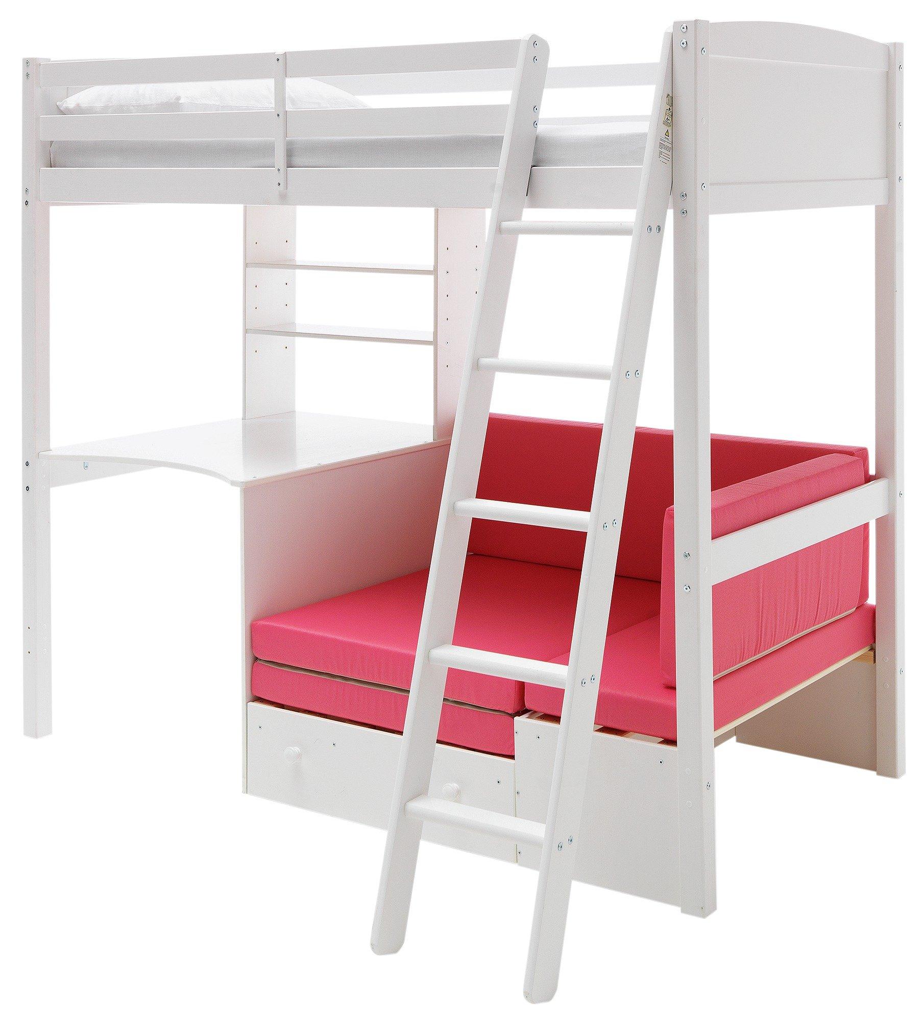 Classic High Sleeper with Sofa Bed & Elliott Mattress-White