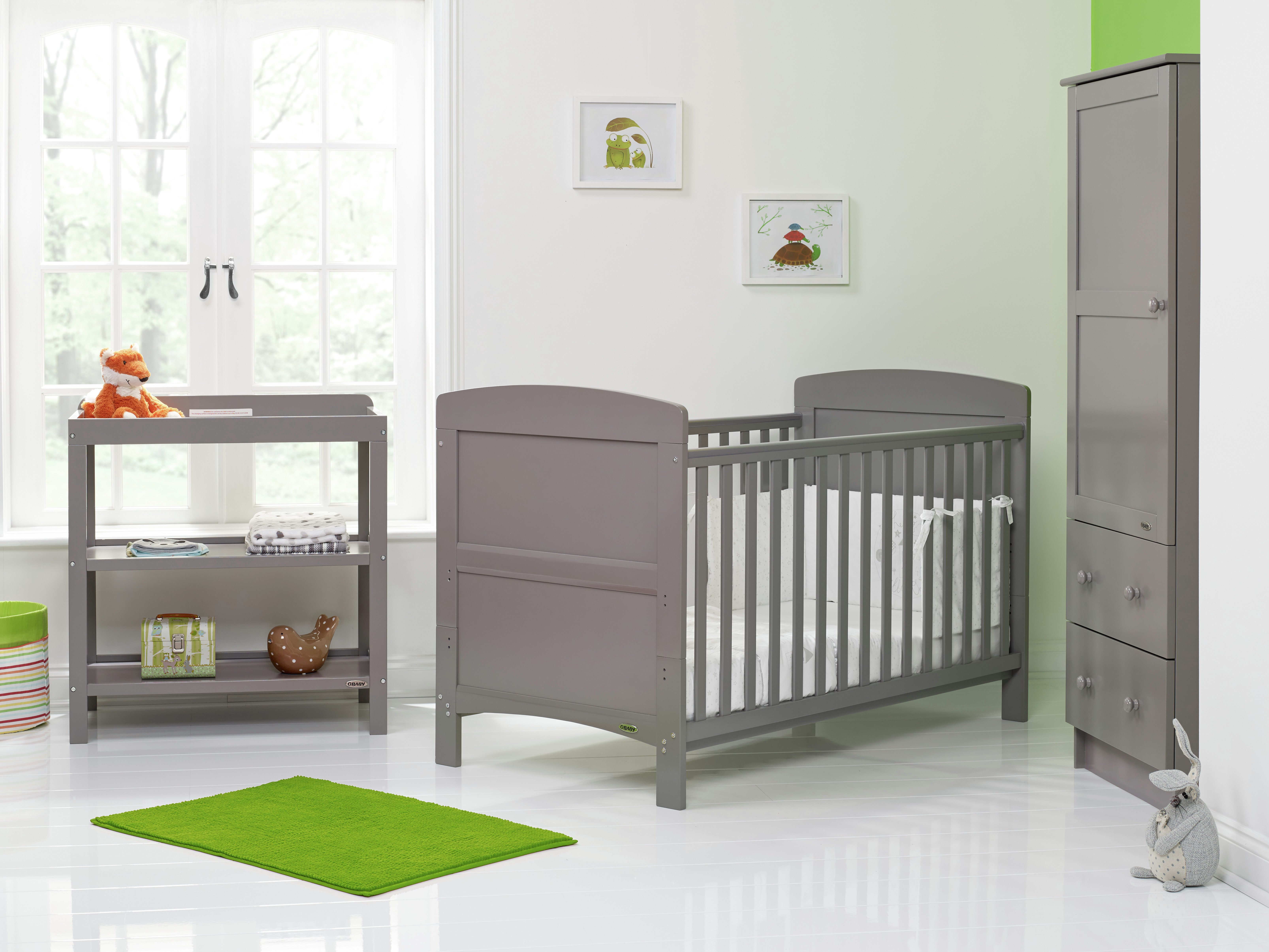 Obaby Grace 3 Piece Nursery Furniture Set - Taupe Grey.