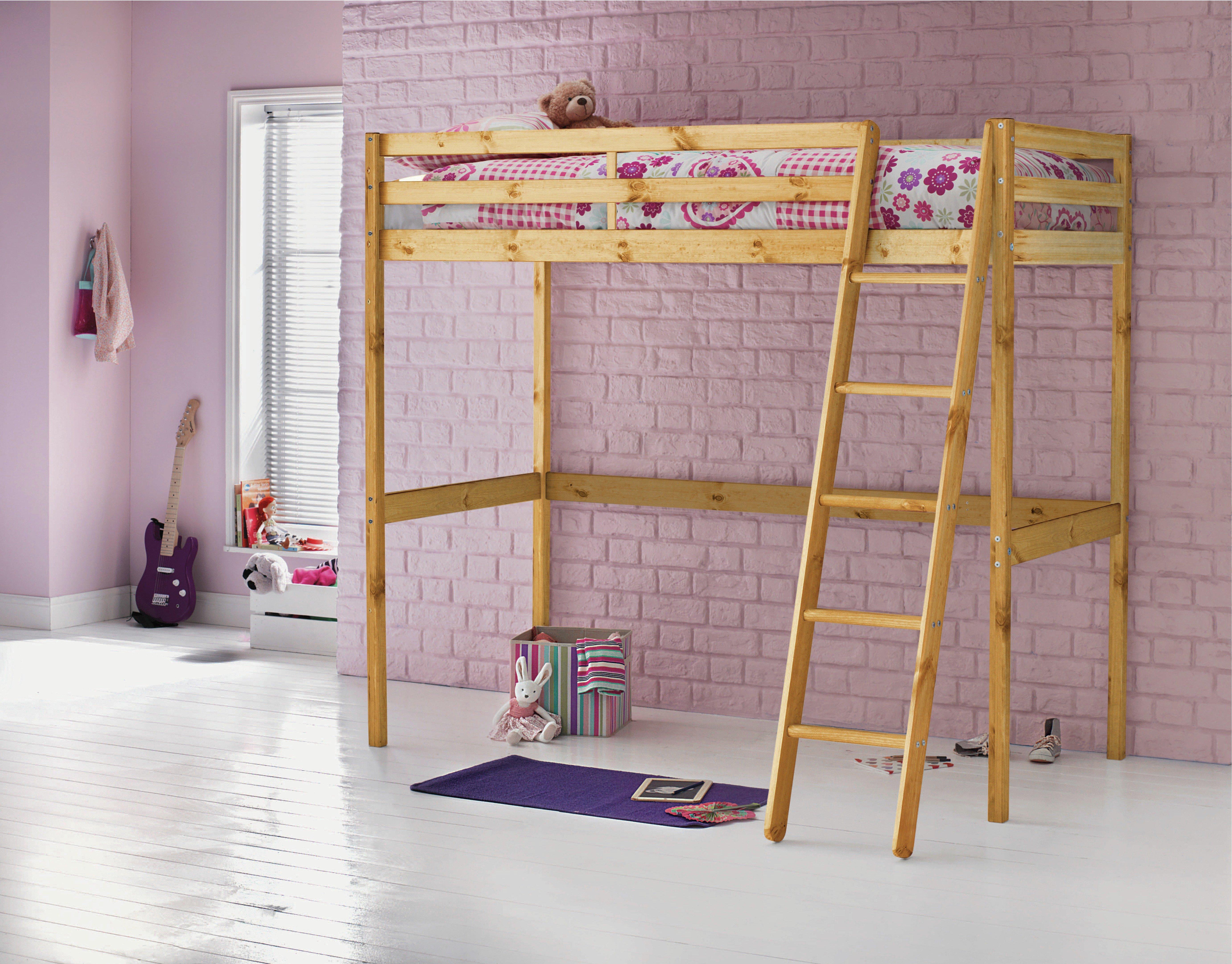 Wood - Single High Sleeper Bed with Ashley Mattress - Pine