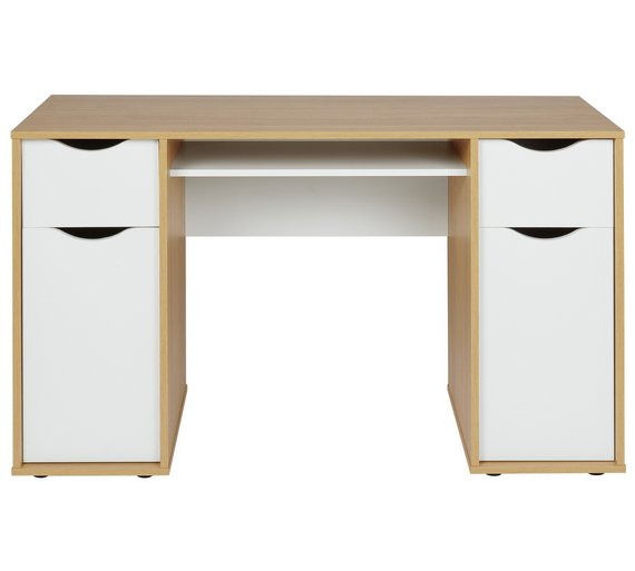 Buy Home Berkeley Double Pedestal Desk White Oak Effect At Your Online Shop