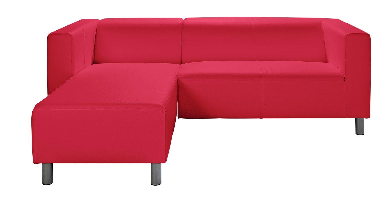 Argos Home Moda Compact Left Corner Faux Leather Sofa - Red