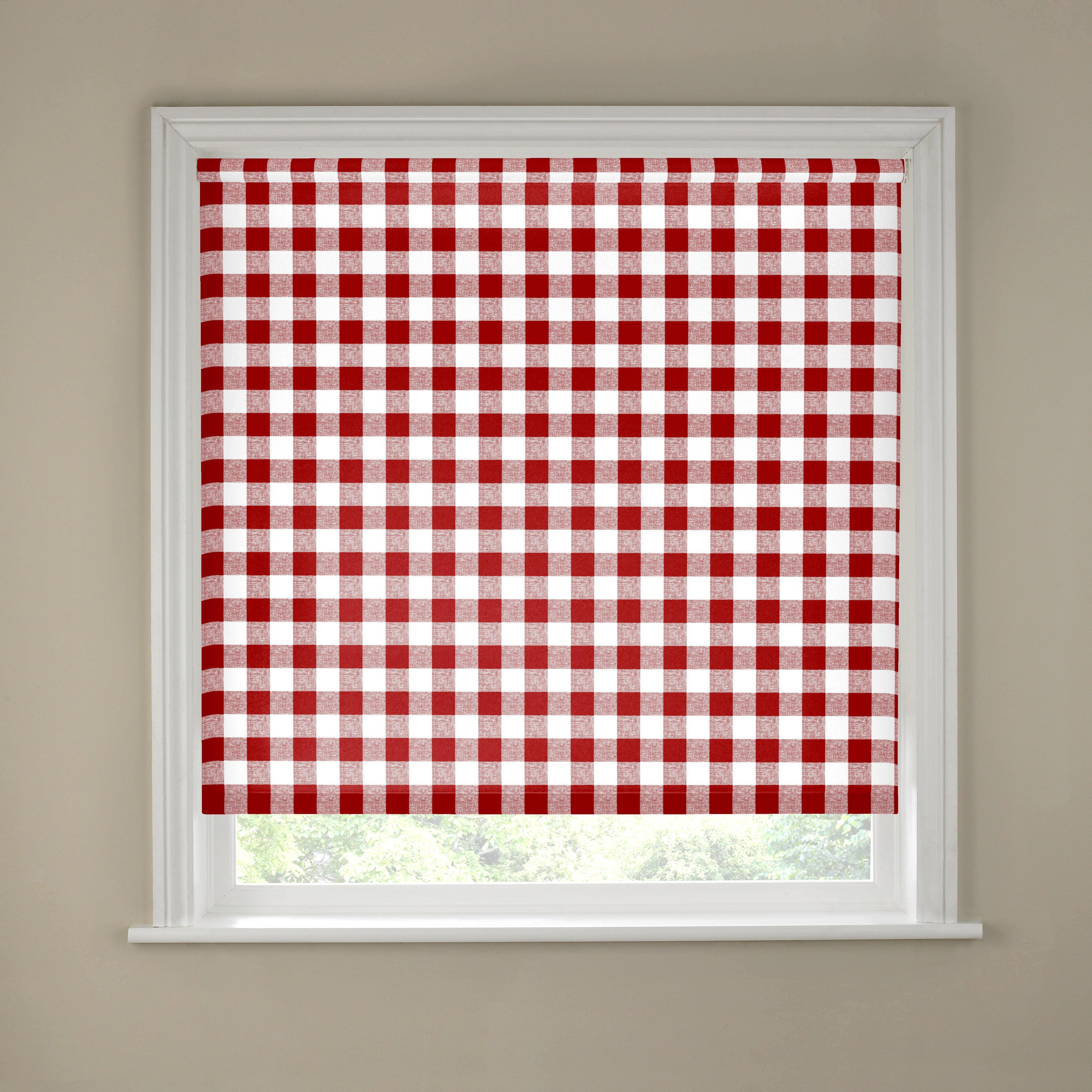 Kitchen Roller Blind - 2ft - Red Gingham