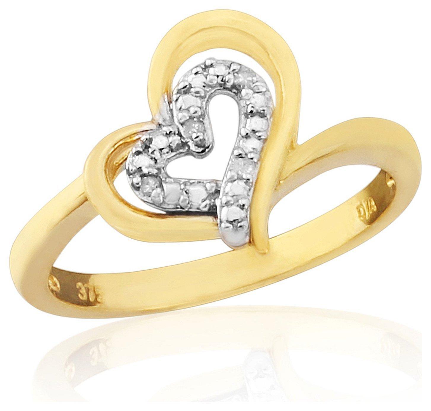 Buy 9ct Gold Diamond Set Heart Dress Ring Size O at Argos