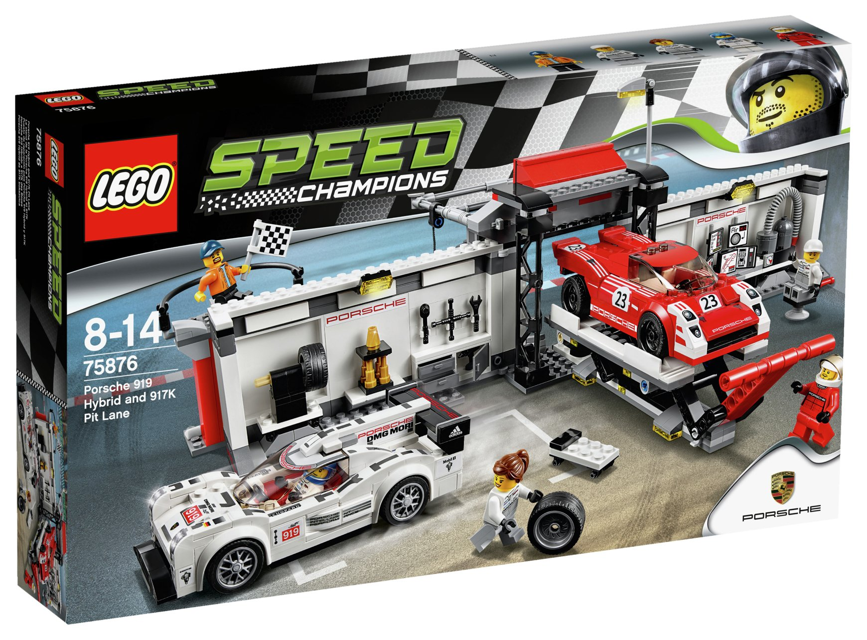 Image of LEGO Speed Champions Porsche 919 Hybrid 917K Pit Lane -75876