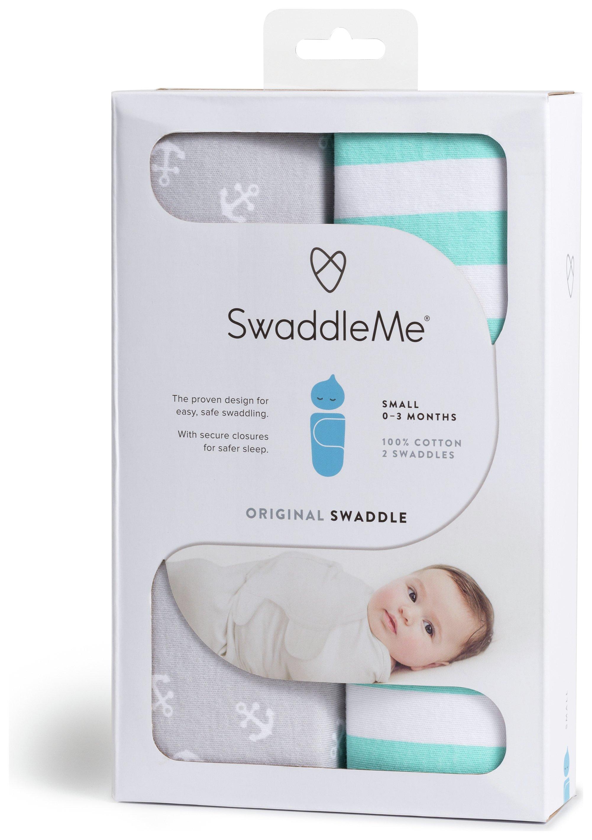 Image of Summer Infant - SwaddleMe Grey Anchor & Green Stripe - 2 Pack