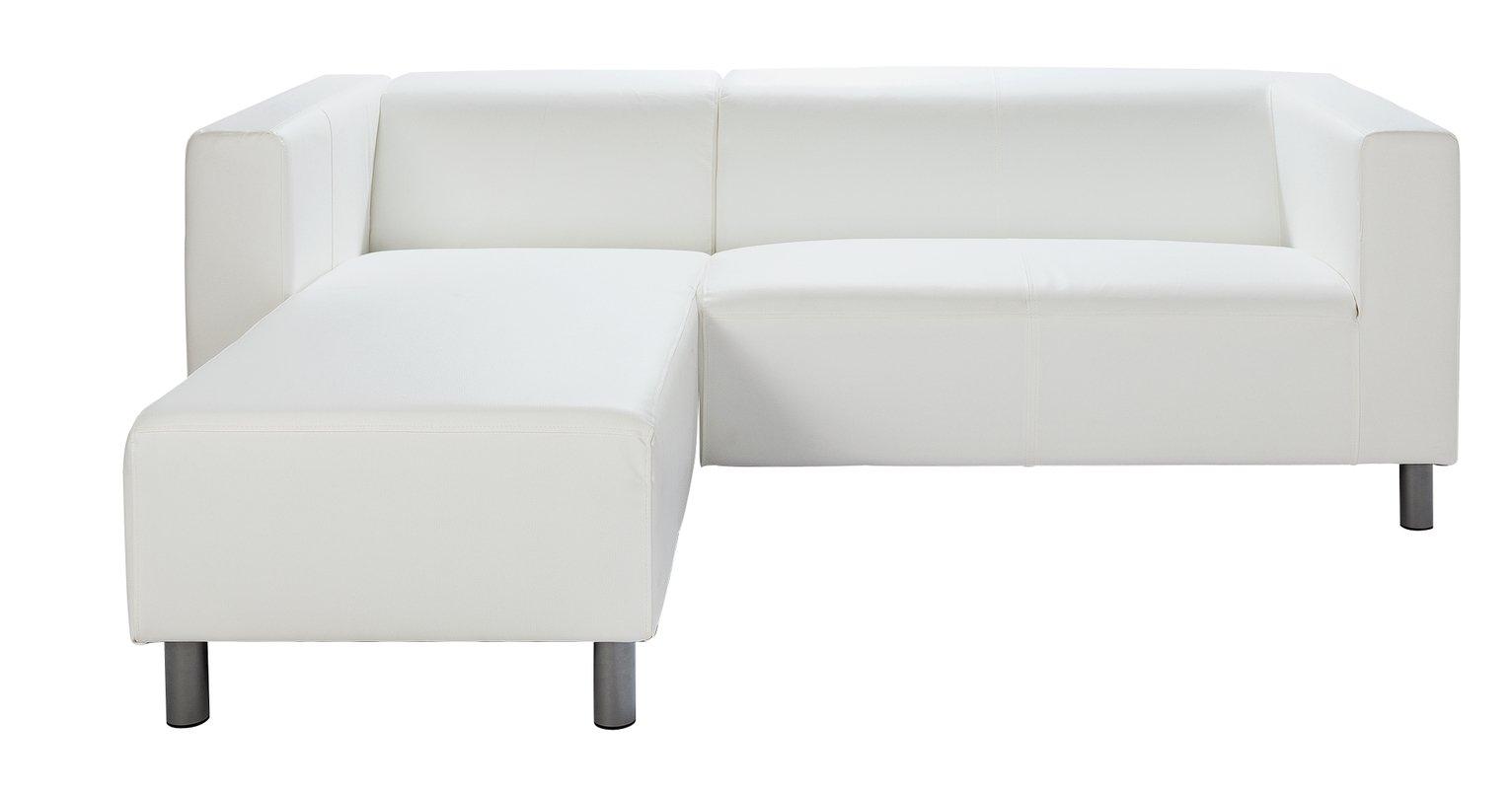 Argos Home Moda Compact Left Corner Faux Leather Sofa -White