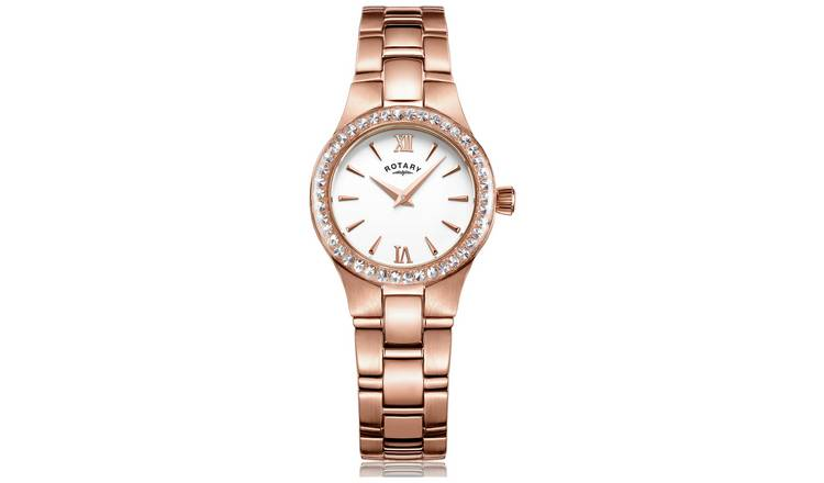 Rotary Ladies Rose Gold Plated Stainless Steel Watch