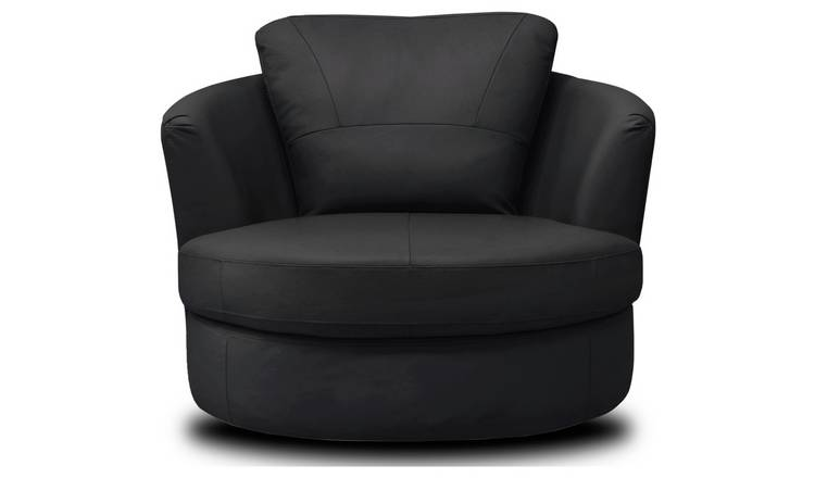 Buy Argos Home Milano Leather Swivel Chair - Black ...