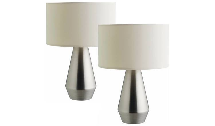 Habitat Maya Pair of Touch Table Lamps - Silver & Cream