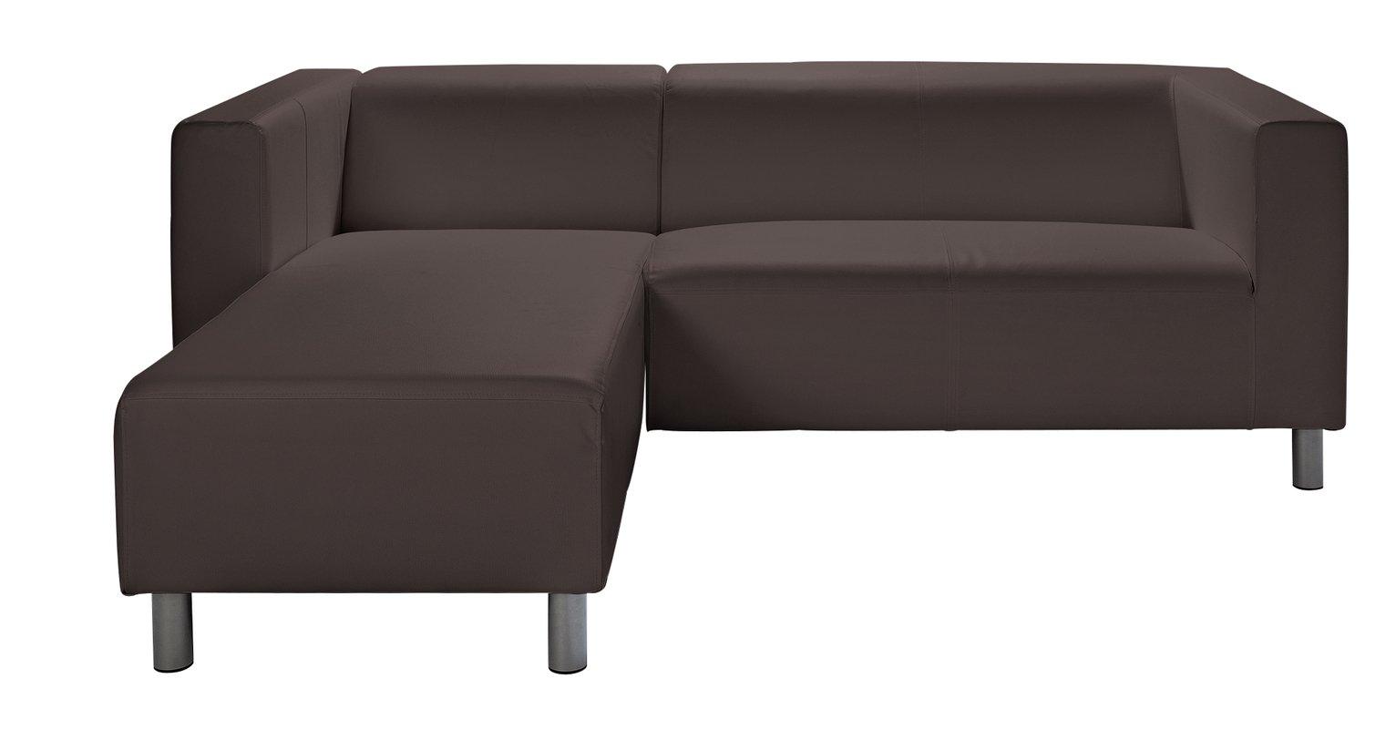 Argos Home Moda Compact Left Corner Faux Leather Sofa -Brown