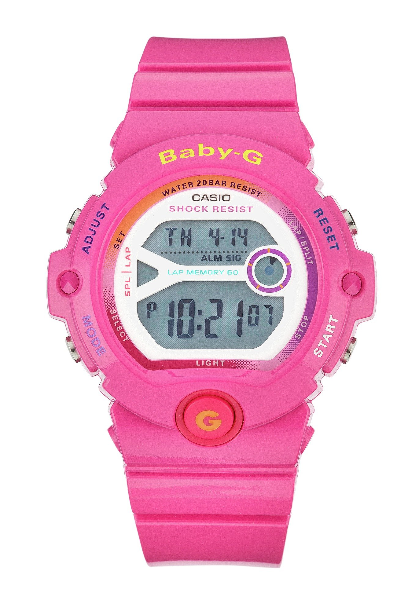 Image of Baby-G Ladies' Pink Digital Sports Strap Watch.