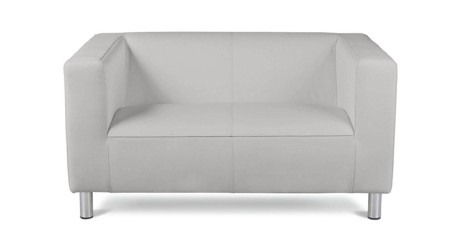 Habitat Moda Compact 2 Seater Faux Leather Sofa - White