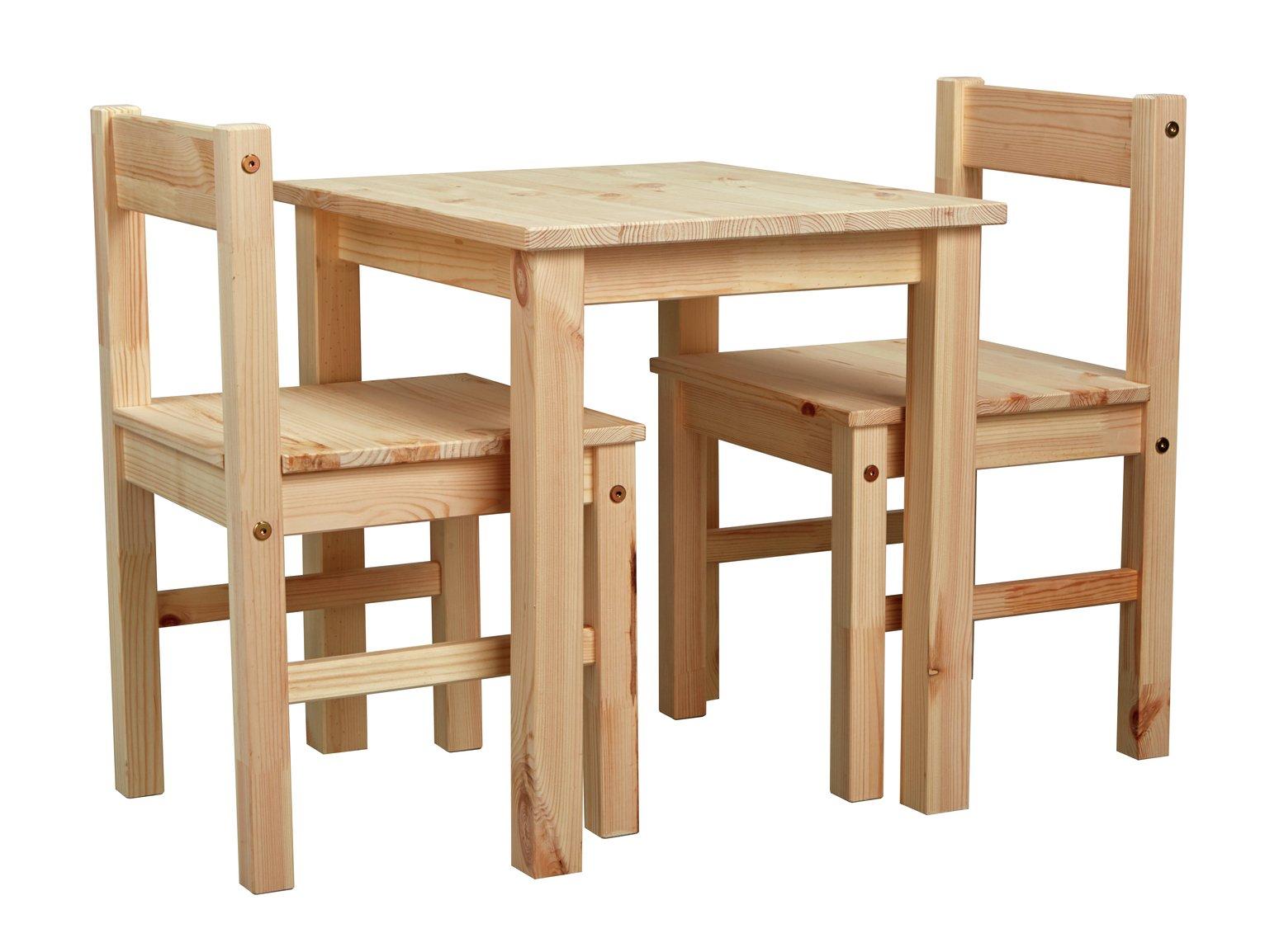 home  kids scandinavia table and 2 chairs  pine