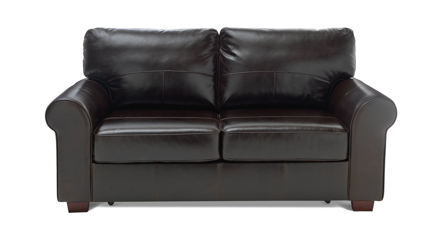 Argos Home Salisbury 2 Seater Leather Sofa Bed - Dark Brown