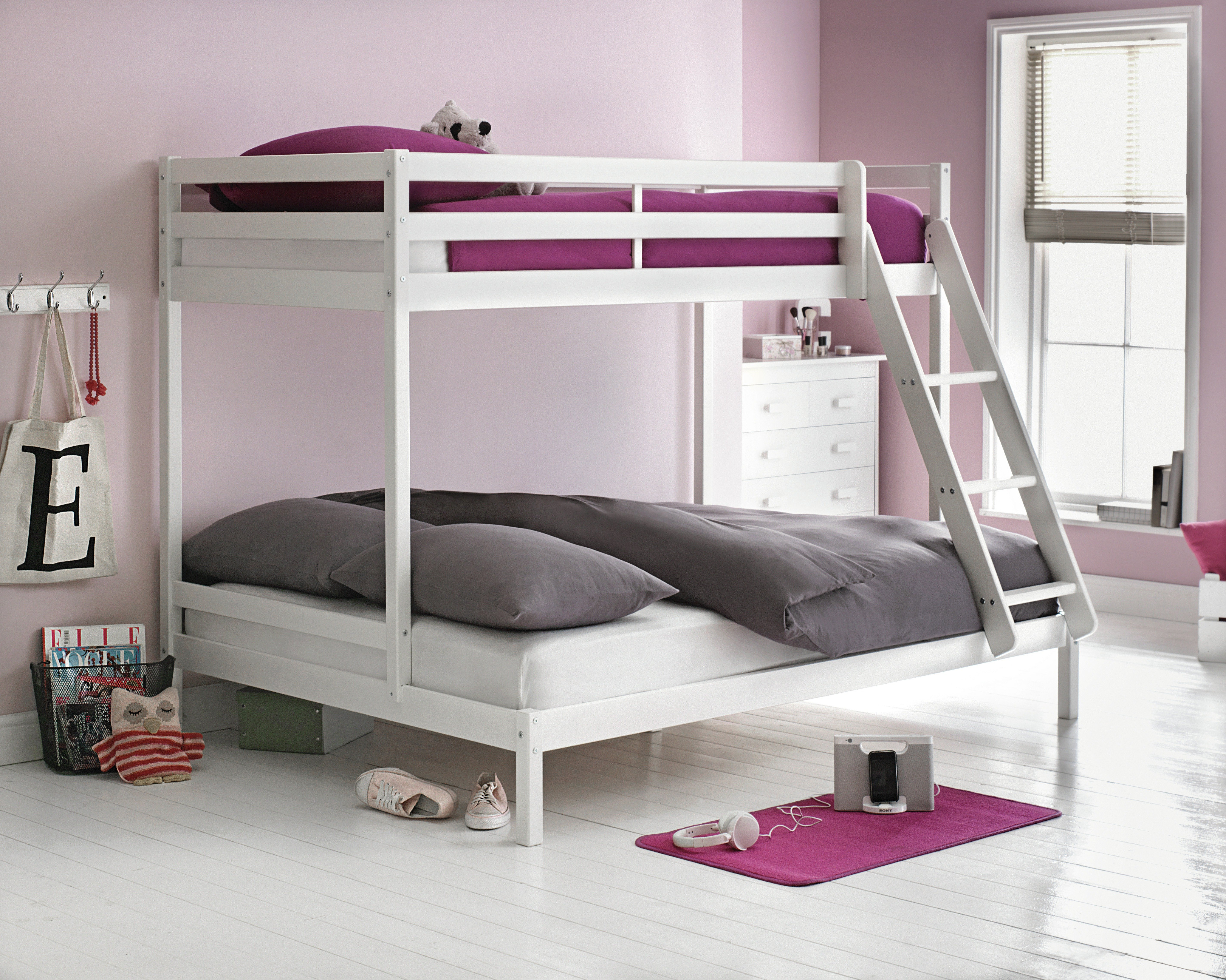 Buy HOME Kaycie Triple Bunk Bed with Elliott Mattress White at