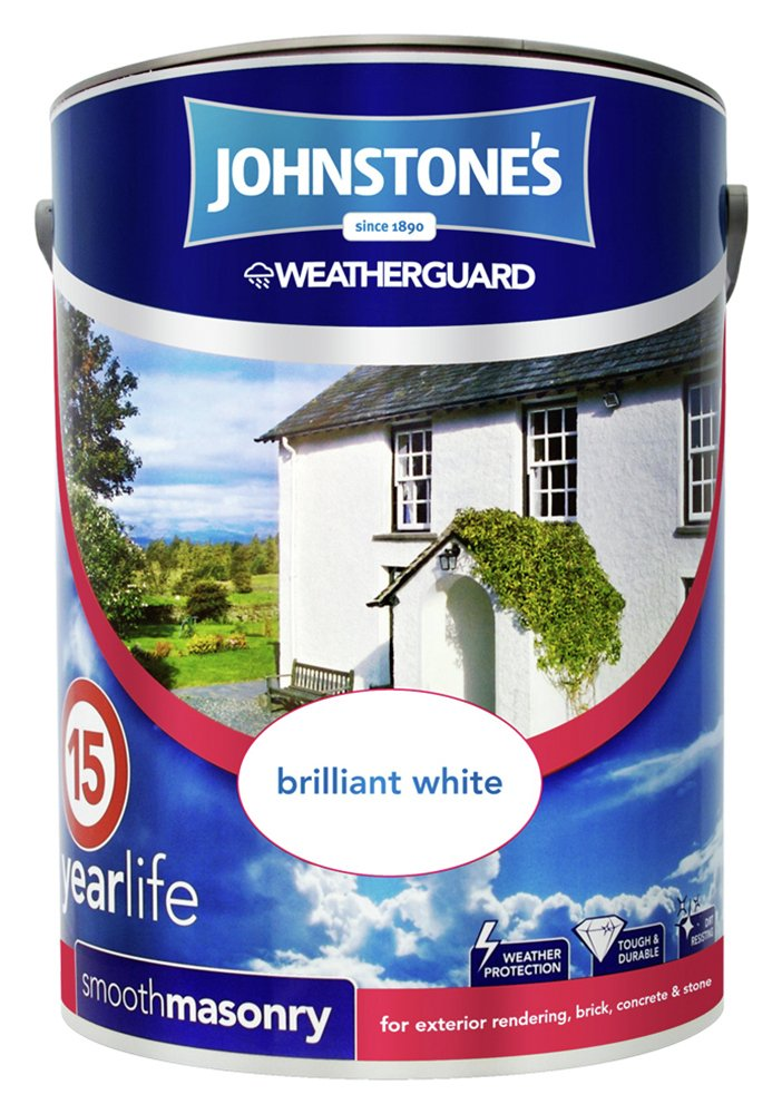 Johnstone's Smooth Masonry Paint 5L - Brilliant White.