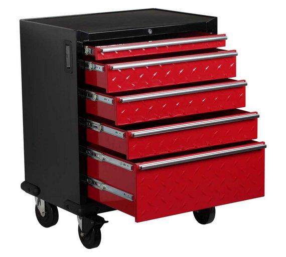 buy hilka 5 drawer mobile garage cabinet at. Black Bedroom Furniture Sets. Home Design Ideas
