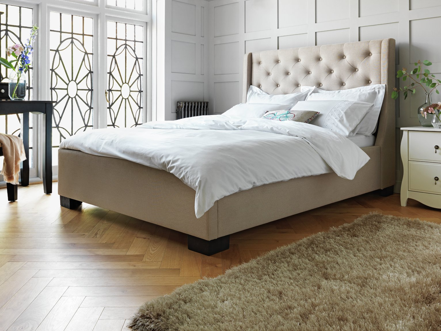 Buy Heart of House Levena Double Quilted Bed Frame Natural at