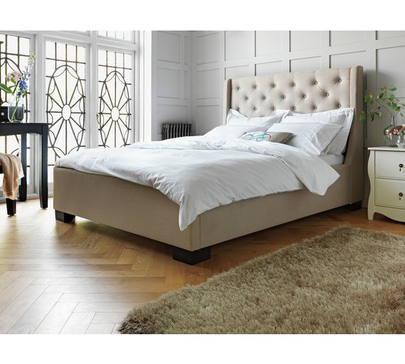Buy Heart of House Levena Double Quilted Bed Frame - Natural   Bed ...