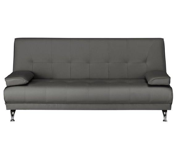 Buy HOME Sicily 2 Seater Fabric Clic Clac Sofa Bed - Charcoal | Sofa ...