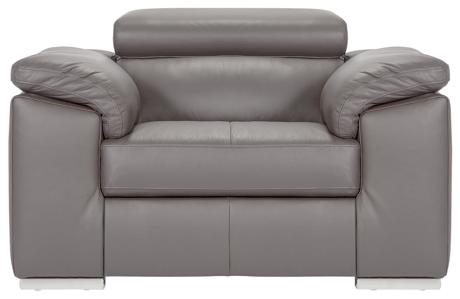Argos Home Valencia Leather Armchair - Light Grey
