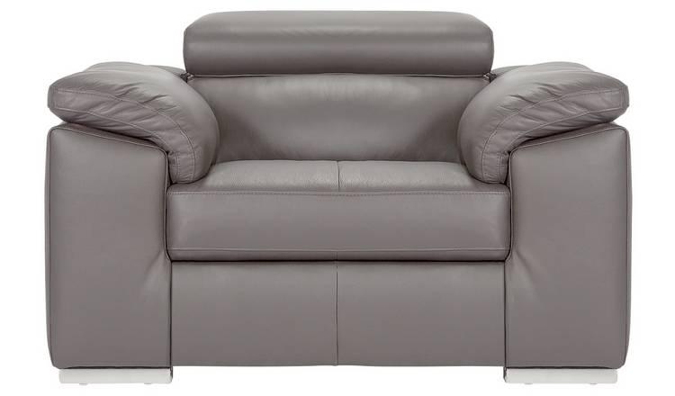 Buy Argos Home Valencia Leather Armchair Light Grey Armchairs