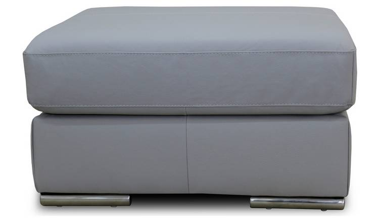 Argos Home Valenica Leather Footstool - Light Grey