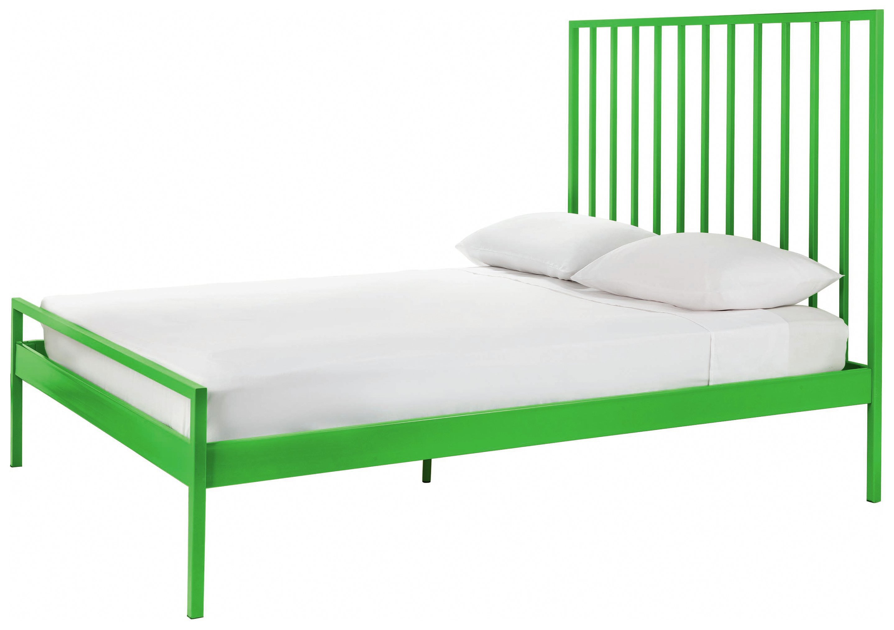 Designed in house and exclusive to Habitat, the Habitat Lucia green double metal bed has a clean, strong design. The statement headboard and vivid colour will undo...