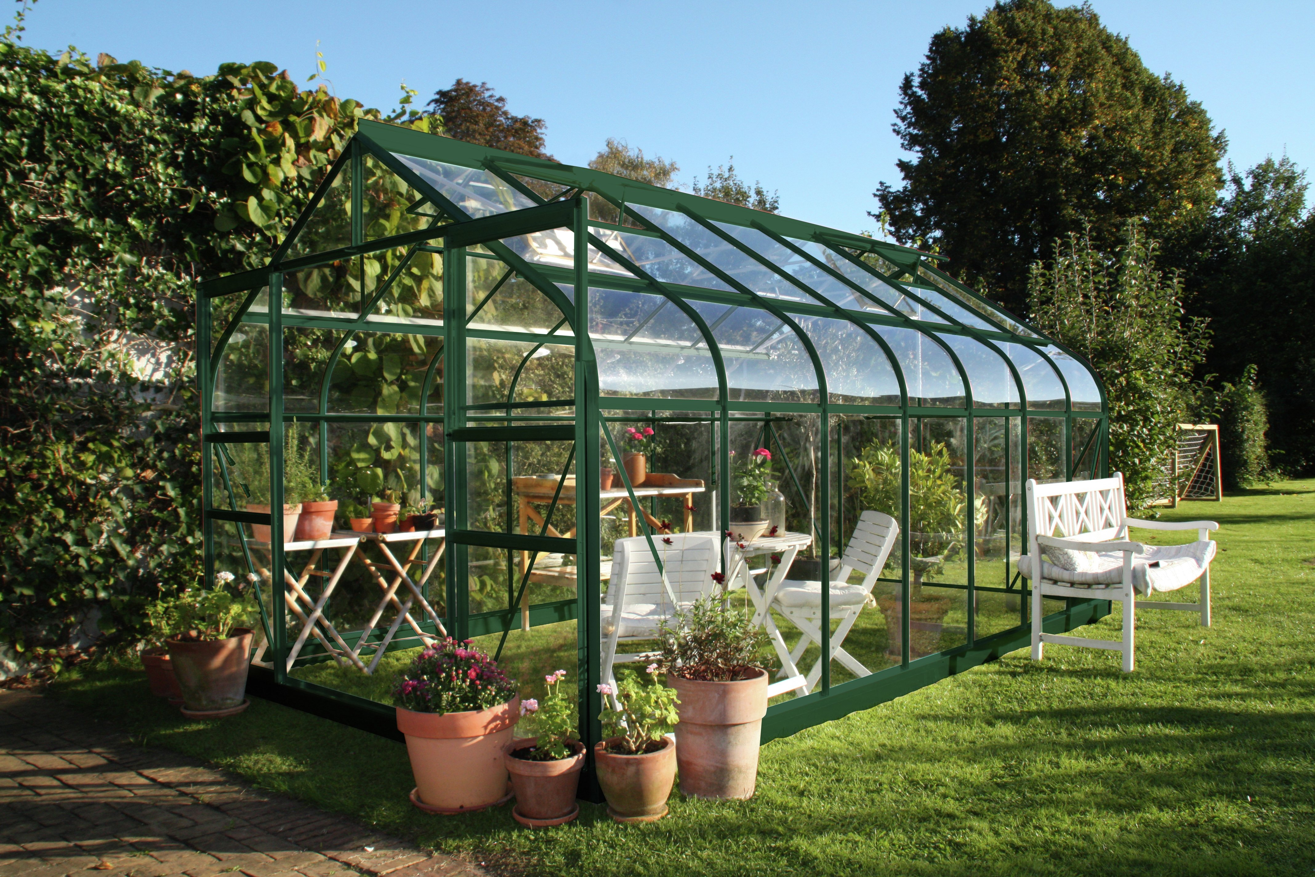 Image of Halls Supreme Toughened Glass 14 x 8ft Greenhouse with Base.
