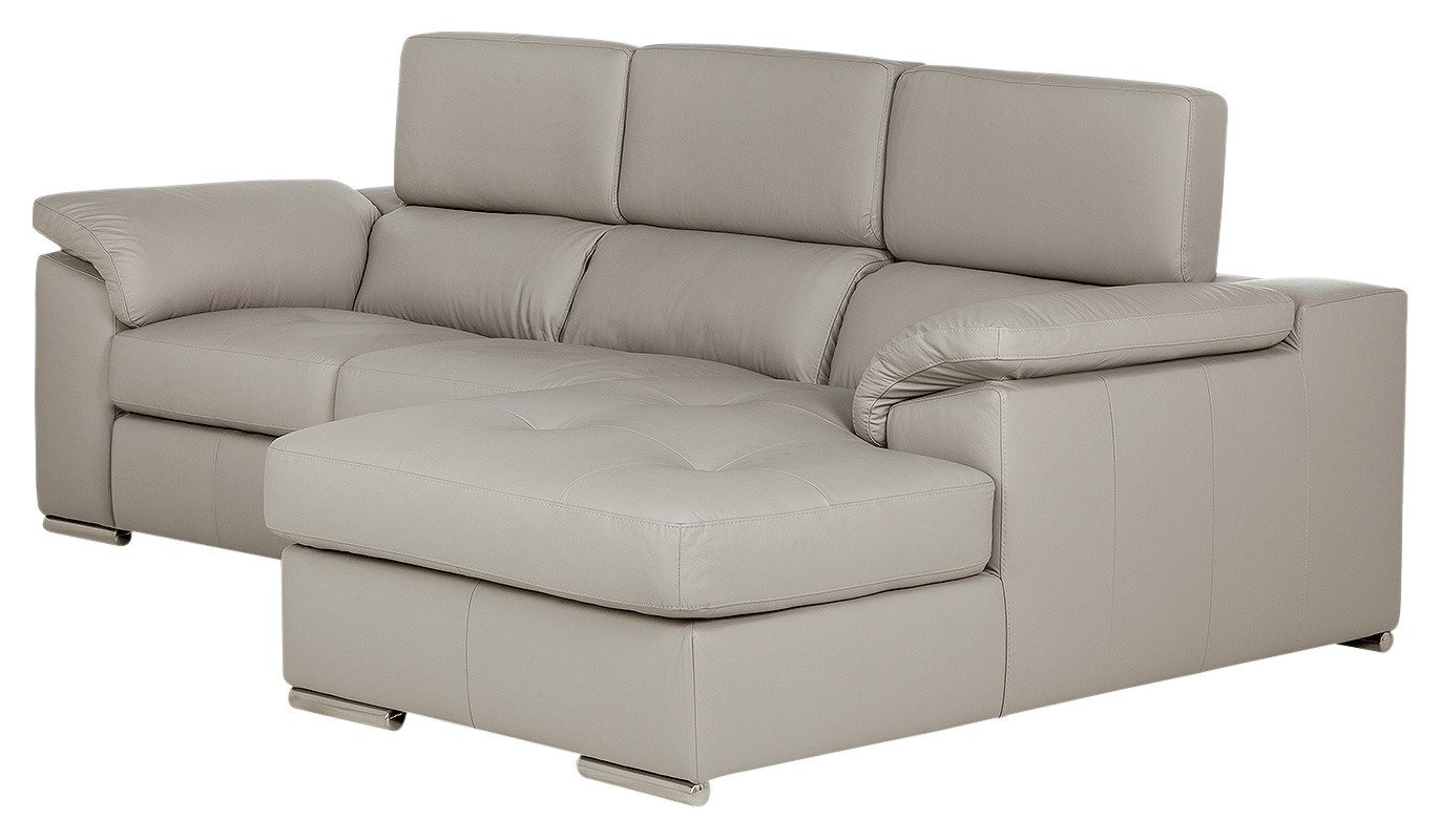 Argos Home Valencia Right Corner Leather Sofa - Light Grey