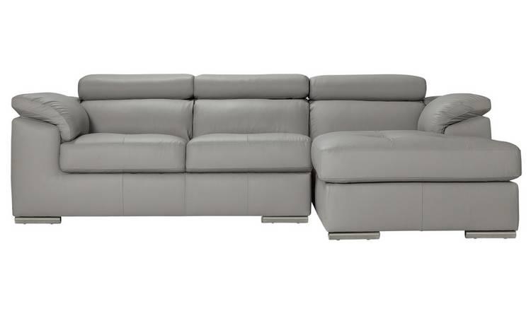 Buy Argos Home Valencia Right Corner Leather Sofa - Light Grey ...