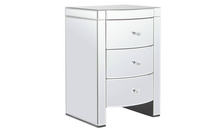 Argos Home Canzano 3 Drawer Bedside Table - Mirrored