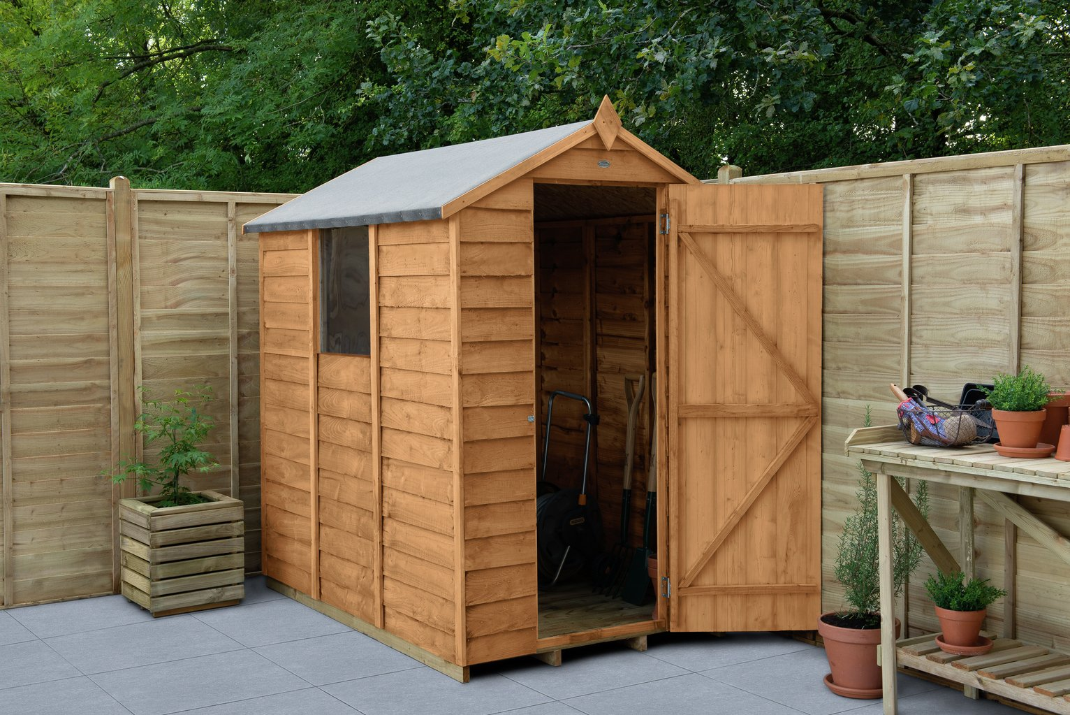 Forest Overlap Apex 6 x 4ft Shed