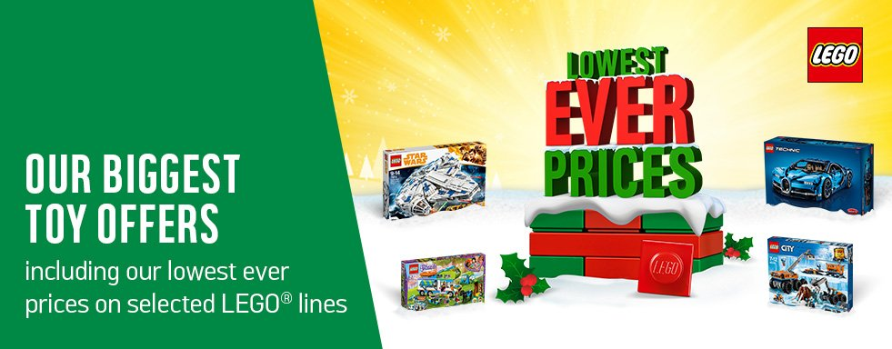 Our biggest toy offers including our lowest ever prices on selected LEGO lines.
