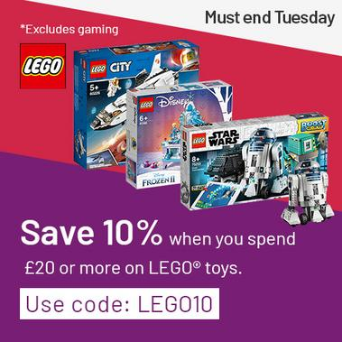 Save 10% on LEGO toys when you spend £20 or more with code LEGO10. Excludes gaming.