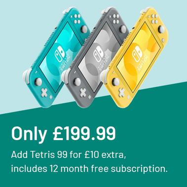 Nintendo Switch Lite console only £199.99. Add Tetris 99 for £10 extra, includes 12 month free subscription.