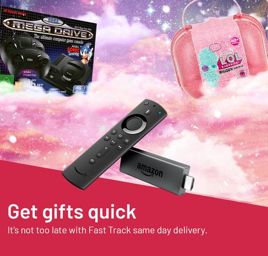 Get gifts quick It's not too late with Fast Track same day delivery.