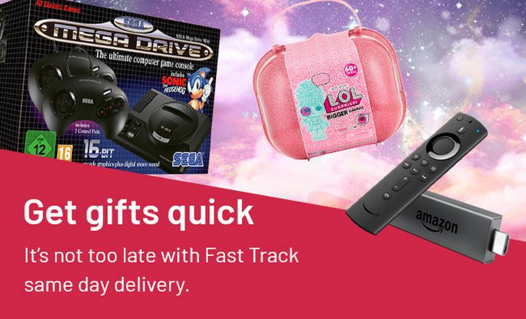 Get gifts quick. It's not too late with Fast Track same day delivery.