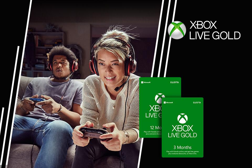 2 people with headsets on, holding controllers, playing games. Image shows xbox download cards.