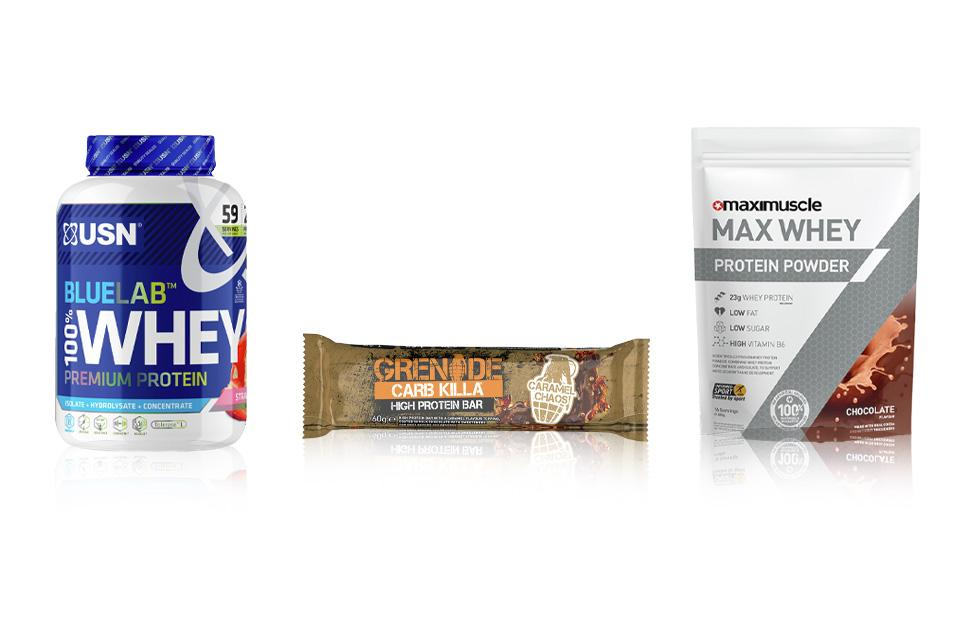 Protein products in their packaging.