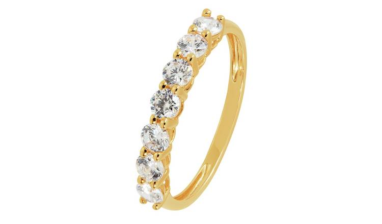 Revere 9ct Gold Claw Set Cubic Zirconia Eternity Ring - H
