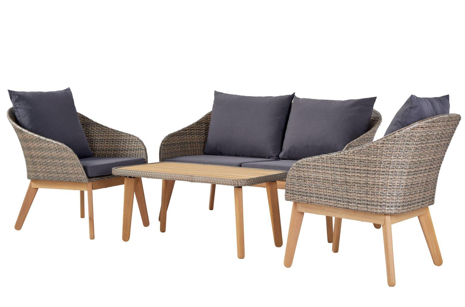Argos Home 4 Seater Rattan Effect Sofa Set