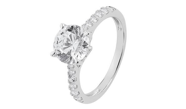 Revere Sterling Silver Cubic Zirconia Shoulder Ring - V