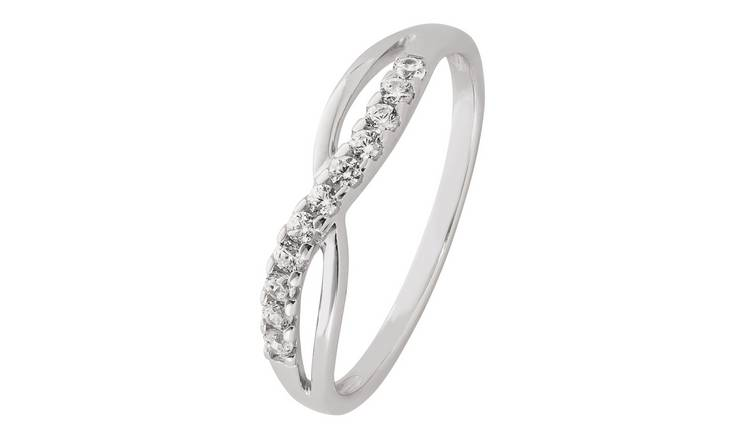 Revere Sterling Silver Cubic Zirconia Crossover Ring - Q