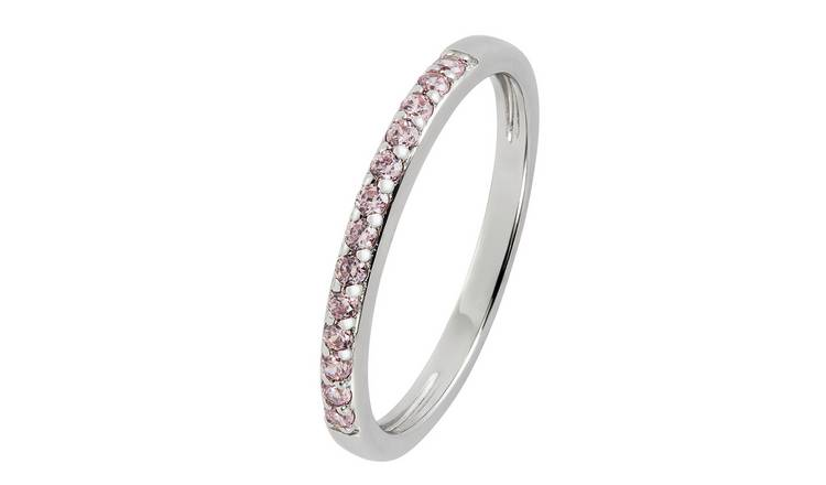 Revere Sterling Silver Pink Cubic Zirconia Stack Ring - N