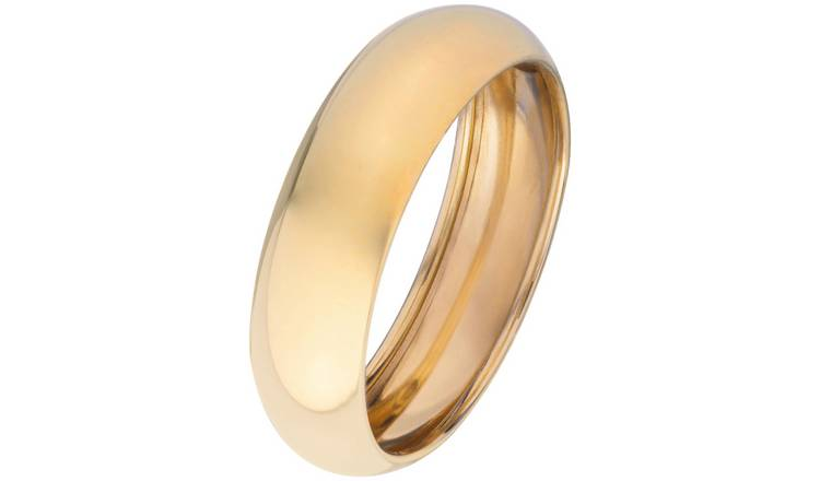 Revere 9ct Gold Rolled Edge Wedding Ring - 6mm - U