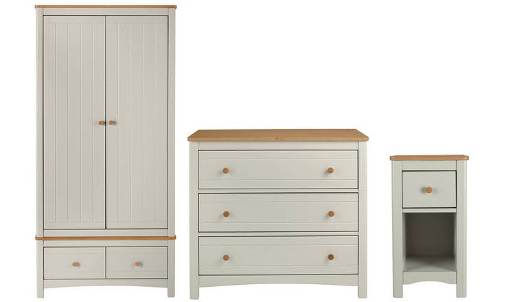 Argos Home Bournemouth 3 Piece 2 Dr Wardrobe Set -Light Grey